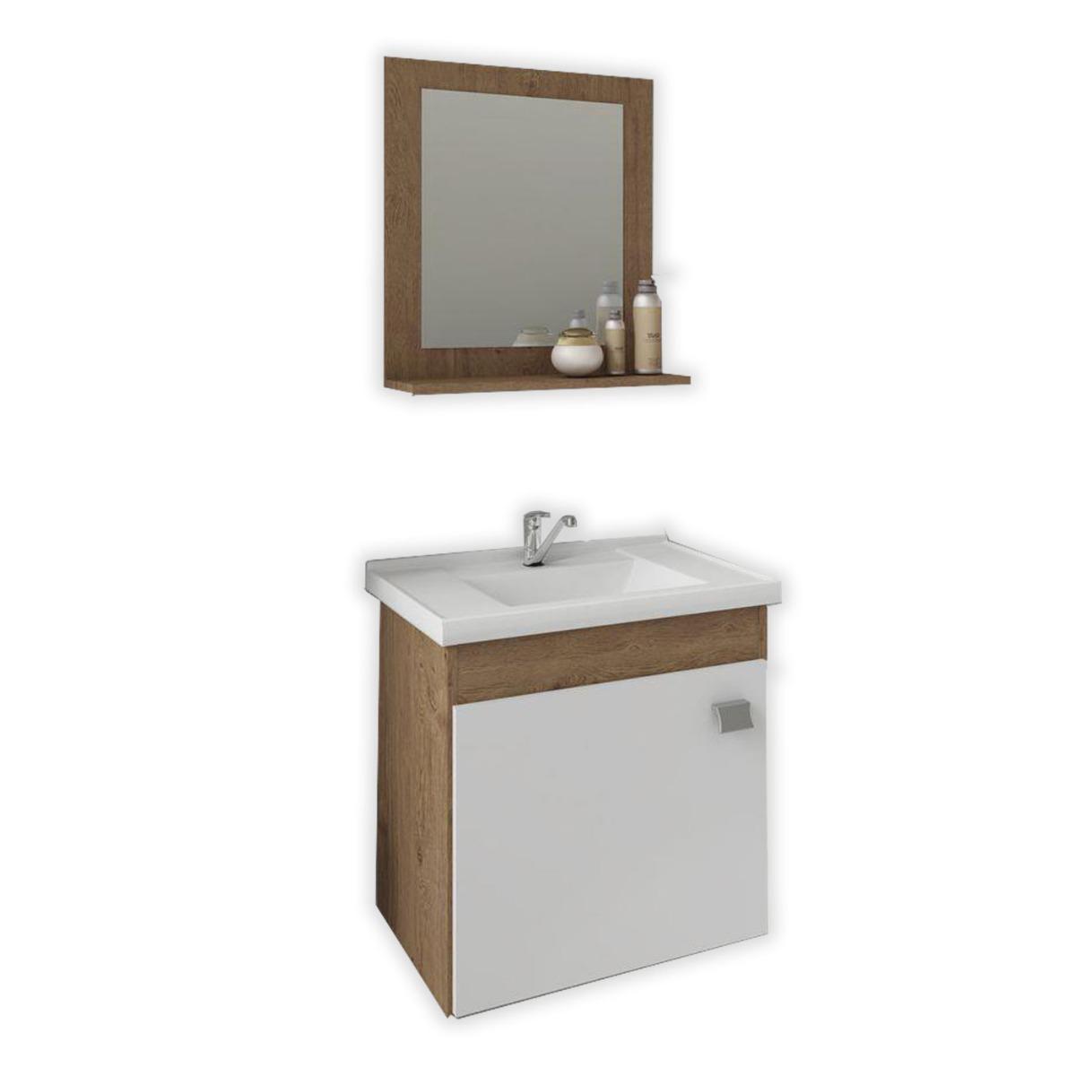 Gabinete p/Banheiro c/Espelheira – Íris – 44cm – Mgm Gabinetes