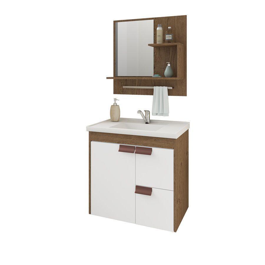 Gabinete p/Banheiro c/Espelheira – Tulipa – 59cm- Mgm Gabinetes